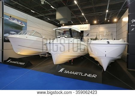 Istanbul, Turkey - February 22, 2020: Smartliner Boats On Display At Cnr Eurasia Boat Show In Cnr Ex