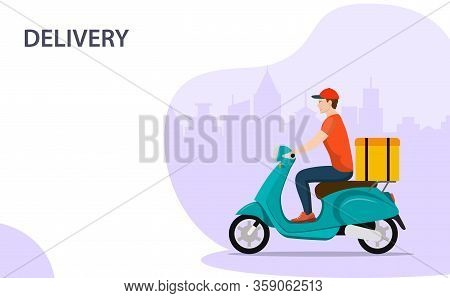 Courier On Scooter With Parcel Box Delivering Food In City. Fast Food Delivery Service, Motorbike Dr