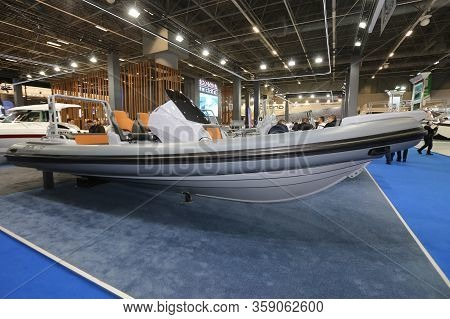 Istanbul, Turkey - February 22, 2020: Inflatable Boat On Display At Cnr Eurasia Boat Show In Cnr Exp
