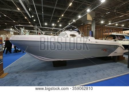 Istanbul, Turkey - February 22, 2020: Boat On Display At Cnr Eurasia Boat Show In Cnr Expo Center