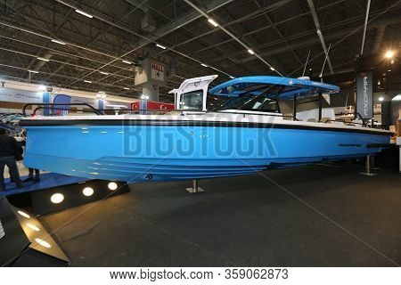 Istanbul, Turkey - February 22, 2020: Axopar Boat On Display At Cnr Eurasia Boat Show In Cnr Expo Ce