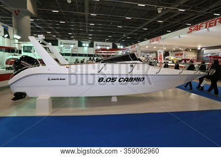 Istanbul, Turkey - February 22, 2020: Marine Boat 8.05 Cabrio On Display At Cnr Eurasia Boat Show In