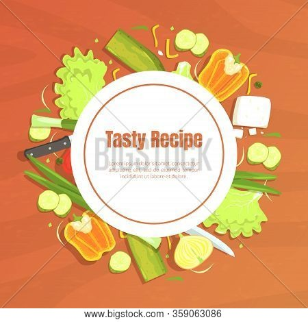 Tasty Recipe Banner Template With Space For Text, Food Recipes, Culinary School, Class Vector Illust