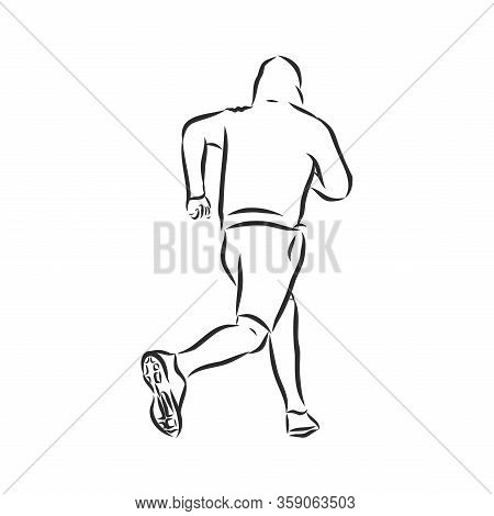 Vector Illustration. Illustration Shows A Athlete. Running Man. Sport. Athletics