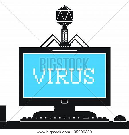 Bacteriophage Infecting Computer with Virus
