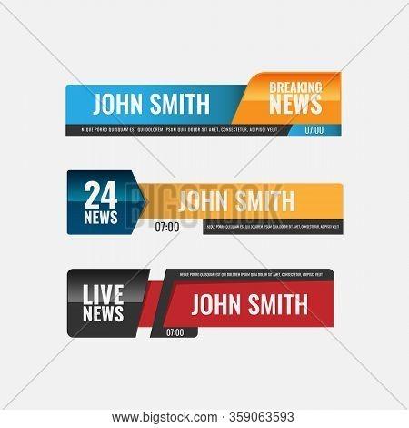 Video Headline Title Or Television News Bar Design Template. Lower Third Tv News Bars Set Vector. Te