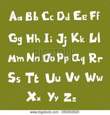Vector Set Of English Alphabet On Green Background. Cute White Massive Vector English Alphabet. Mode