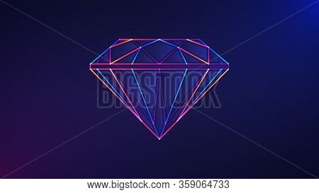 Diamond Background. Vector Illustration Of Glowing Neon Colored Diamond Gemstone Icon Over Blue And