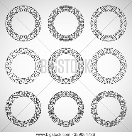 Round Islamic Ornament Elements Set. Vector Illustration Of Round Islamic Ornamental Geometric Patte
