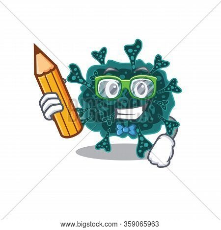 A Brainy Student Herdecovirus Cartoon Character With Pencil And Glasses
