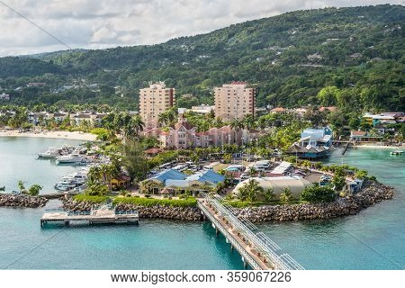 Ocho Rios, Jamaica - April 22, 2019: View From The Ship To The Cruise Port In The Tropical Caribbean