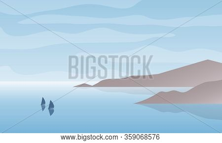 Seascape Bay With Boats And Cloudy Sky. Nature Landscape Background. Vector Illustration