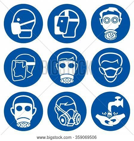 Set Of Ppe Mandatory Protective Face Symbol Sign,vector Illustration, Isolated On White Background L