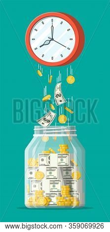 Glass Money Jar, Gold Coins Banknotes Falling From Clocks. Saving Dollar Coin In Moneybox. Growth In
