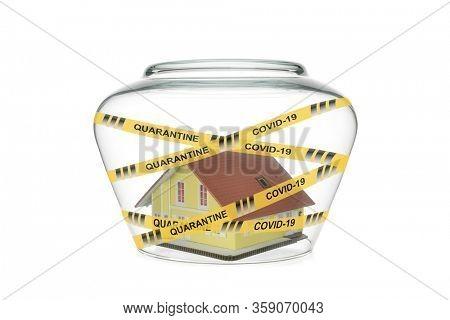 Self-quarantine concept isolated on white background.