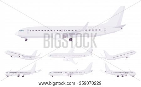 Passenger Plane Template Set, Airline Aircraft Carrying Passengers. Airport Business Vehicle, Sky Tr