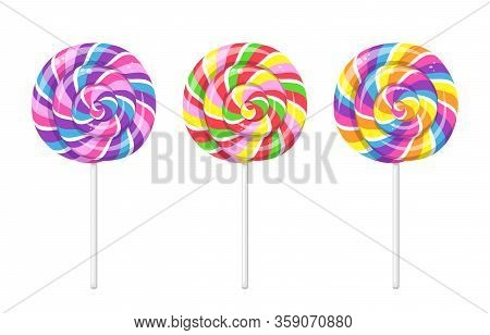 Lollipop With Spiral Rainbow Colors, Twisted Sucker Candy On Stick. Vector Cartoon Set Of Round Cand