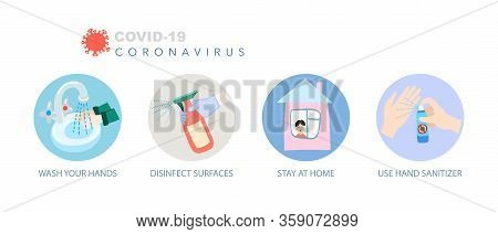 Coronavirus Prevention Icon Set, Covid-19 Quarantine Motivational Symbols Collection, 2019-ncov Wuha