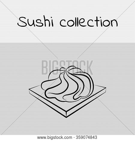 Sushi Collection. Wasabi. Line Drawing, Icon. Vector.