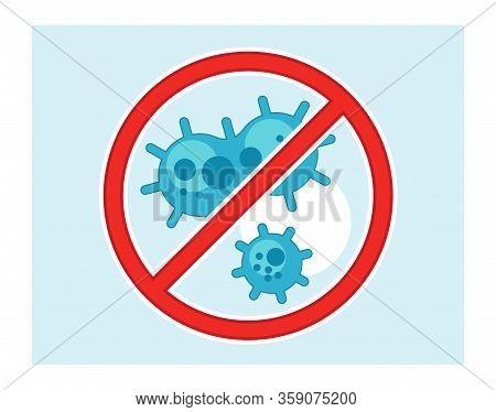 Several Coronaviruses Crossed With Aware Stop Sign Isolated Vector Image. Stop Coronavirus Precautio