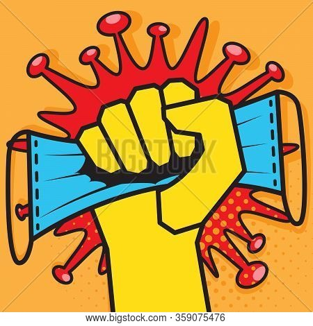 Medical Mask Is Pinched In Raised Fist Against Background Of Coronavirus Bacteria Cell. Medical Face