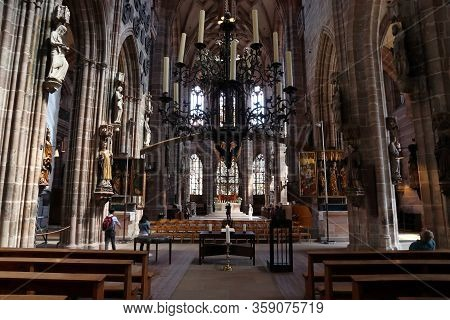 Nuremberg, Germany - May 8, 2018: Interior Of St. Lorenz Kirche (saint Lawrence Church) In Nuremberg