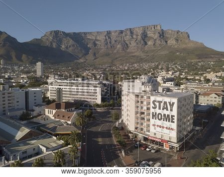 2 April 2020 - Cape Town, South Africa: Aerial View Of Empty Streets In Cape Town, South Africa Duri