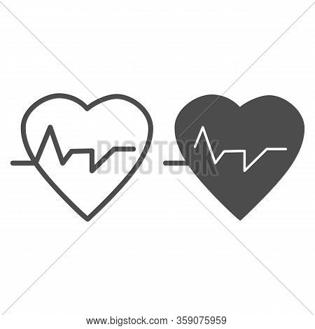 Heartbeat Line And Glyph Icon. Heart With Pulse, Electrocardiogram Symbol, Outline Style Pictogram O