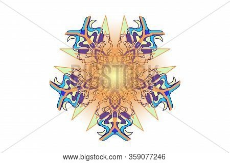 Orange Blue And Purple Snowflake With Yelow Gradient On A White Background. Symmetrical Geometrical