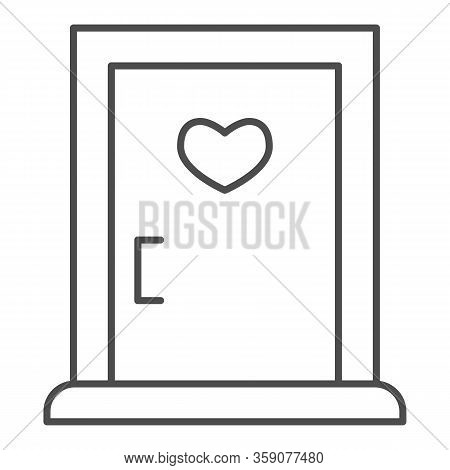 Love Doorway Thin Line Icon. Close Door With Heart Shaped Window Symbol, Outline Style Pictogram On