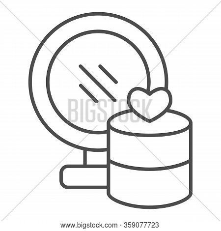 Mirror And Jewellery Thin Line Icon. Gift Box With Heart And Makeup Glass Symbol, Outline Style Pict