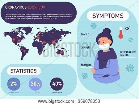 Coronavirus. Quarantine No Infection and Stop Coronavirus Concepts. Coronavirus 2019 Covid 2019 nCoV symptoms and coronavirus prevention infographic. Coronavirus 2019-nCOV cases around the world. Vector coronavirus covid-19 nCoV Illustration.