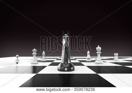 Chess Business Concept, Leader & Success. 3d Render Chessboard With Black Horse Leader For Business