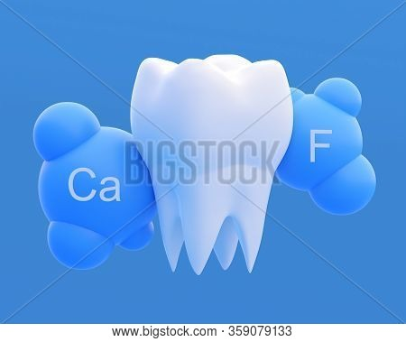 Clean White Healthy Strong Tooth Molar, Calcium And Fluoride Effect. 3d Illustration
