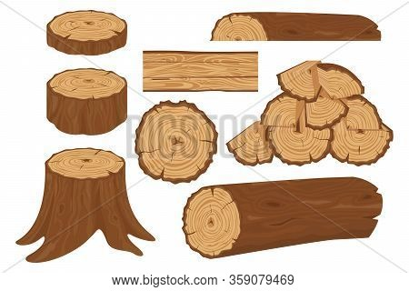 Collection Of Tree Logs, Planks, Stump, Twigs And Trunks In Cartoon Flat Style. Wood Trunks. Stacked