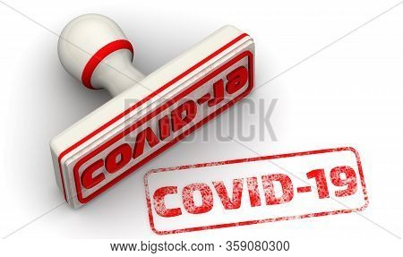 Covid-19. The Seal. The White Seal And Red Imprint Covid-19 On White Surface. Isolated. 3d Illustrat