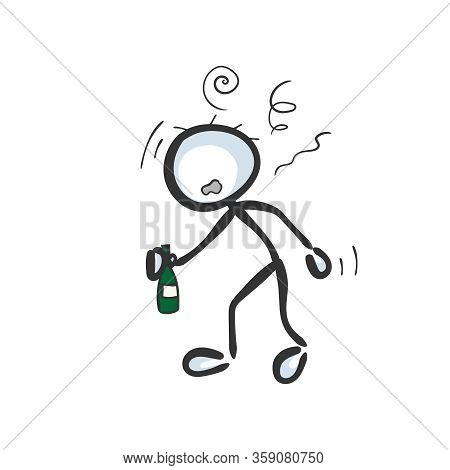 Drunk Man. Alcoholic Holding Bottle Of Alcohol. Social Issue. Hand Drawn. Stickman Cartoon. Doodle S