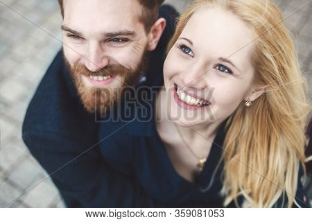 Love Story. Pair Of Guy And Girl Hugging And Laughing.