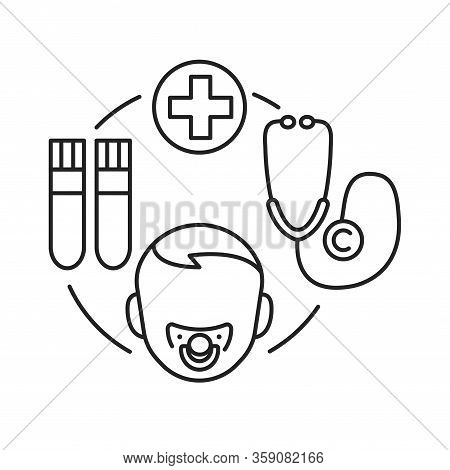 Child Disease Black Line Icon. Pediatric Health Care Sign. Childcare Concept. Pictogram For Web Page