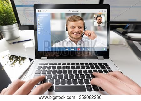 Virtual Talking With Friends, Colleague And Using Video Chat Conference. Remote Learning Or Work. Ho