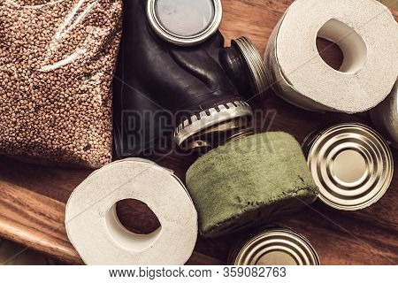Toilet Paper 3 Rolls, Protective Gas Mask, Pack Of Buckwheat And 2 Cans Of Canned Food