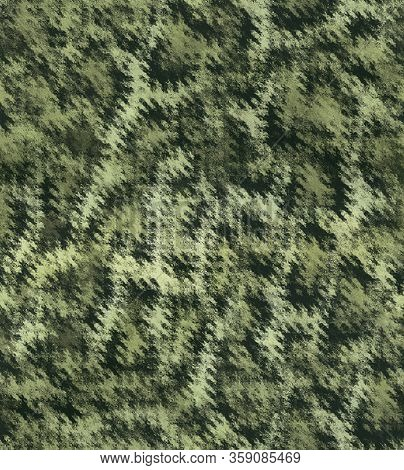 Texture Military Camouflage Repeats Seamless Army Green Hunting. Dirty Camouflage. Seamless Brushstr