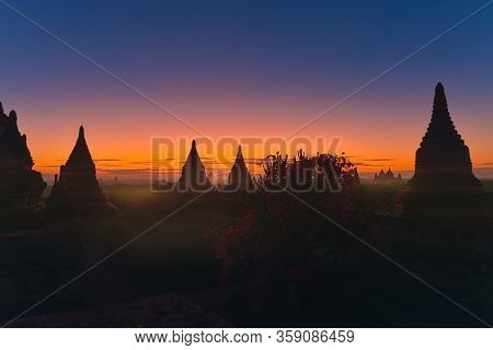 Bagan Myanmar Bell-shaped Pagodas After Sunset, South East Asia
