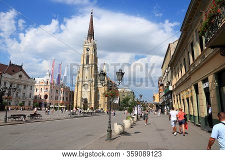 Novi Sad, Serbia - August 14, 2012: People Visit Old Town In Novi Sad, Serbia. In 2011 Serbia Had Mo