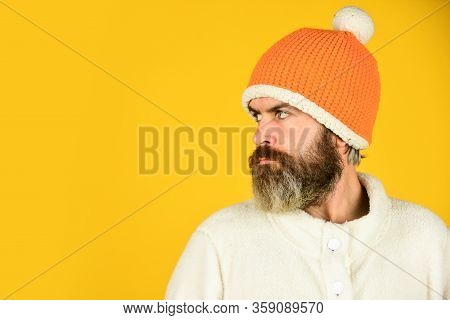 Bearded Hipster. Handsome Man Knitted Hat With Pom Pom. Fashion Concept. Winter Clothes And Accessor