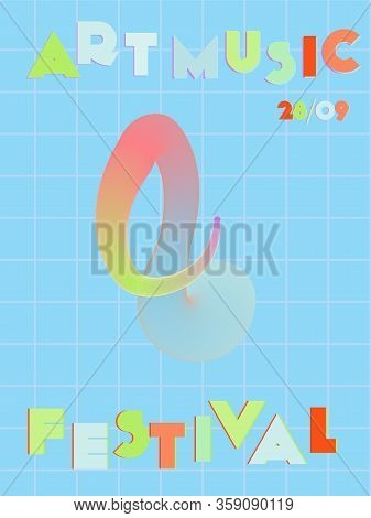 Music Cover In Pink, Blue, Orange, Green Colors. Rock Concert Flyer. Minimal Tech Brochure. Amplitud