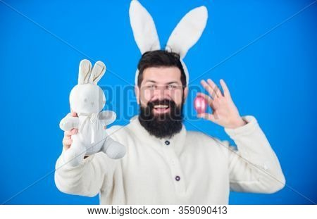 Hipster Cute Bunny Long Ears Blue Background. Easter Bunny. Funny Bunny With Beard And Mustache. Joi