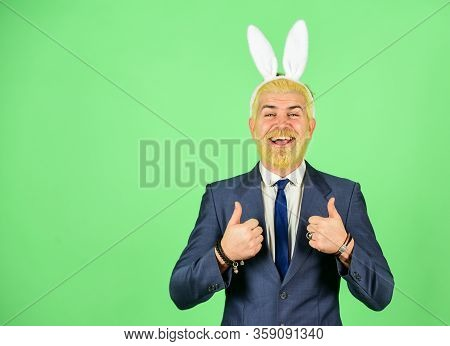 Bring Out Your Inner Rabbit. Easter Rabbit. Happy Businessman Wear Rabbit Ears. Bearded Man Show Thu