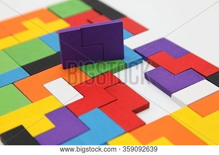 Different Colorful Shapes Wooden Blocks.geometric Shapes In Different Colors. Concept Of Creative, L