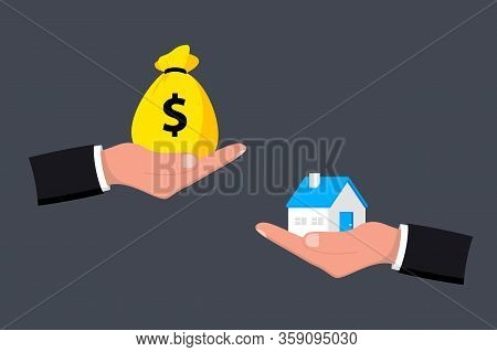 Home And Money On Hand. Money And Home. Buying A House. Sale And Purchase Concept. Deal Sale And Pur